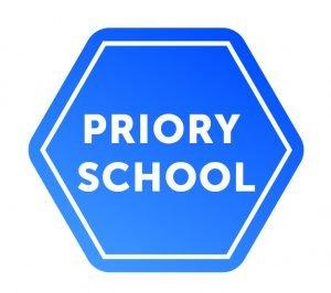 Priory school logo, blue
