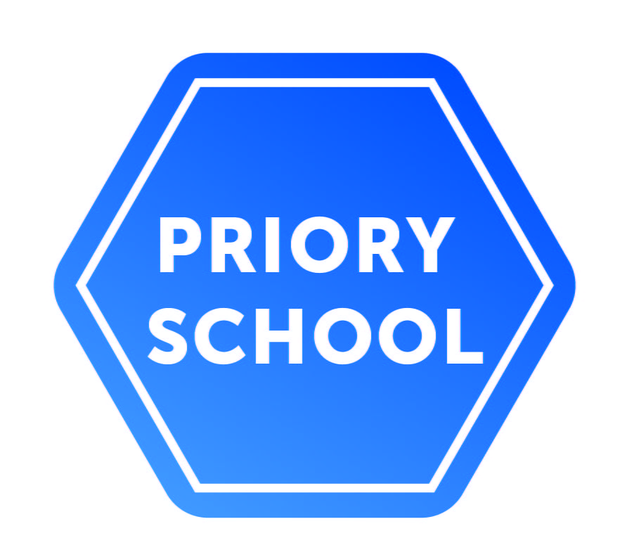 Priory school logo, blue